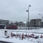 2016年南鳩ヶ谷駅前の初雪